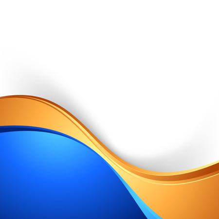 orange background: Bright swoosh border abstract blue gold background.  Illustration