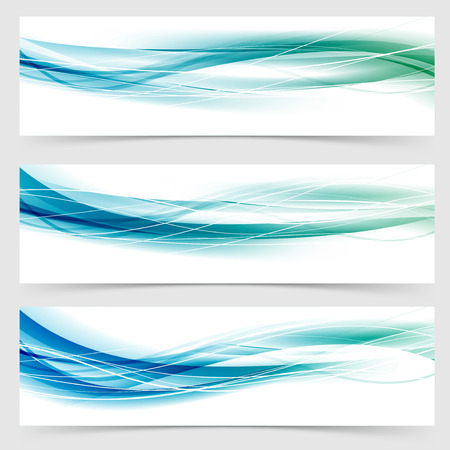 blue water: Modern abstract green blue line header collection web swoosh wave cool layout.