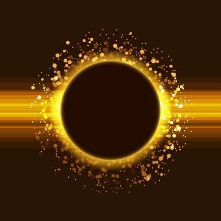 Affiche du parti de paillettes d'or mise abstrait avec cercle entouré par fusée particules chatoyantes modèle de luxe. Vecteurs