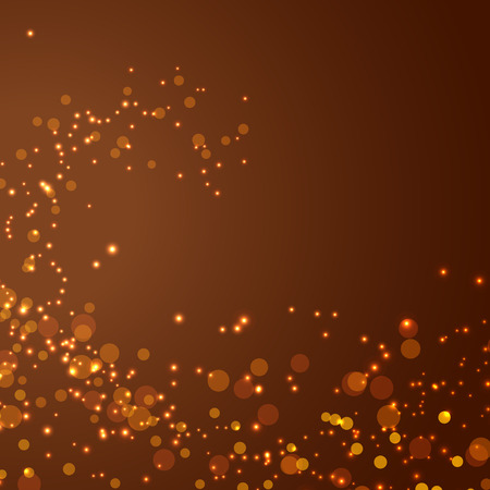 Magical glittering christmas abstract background bokeh golden lens-flare and particle card layout.