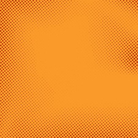naranja: Bright polka fondo del estilo del cómic de medios tonos puntean el modelo retro. Ilustración vectorial Vectores