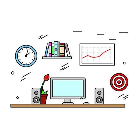 interior designer: Contemporary creative thin line workspace of modern designer, desktop and room interior. Vector illustration