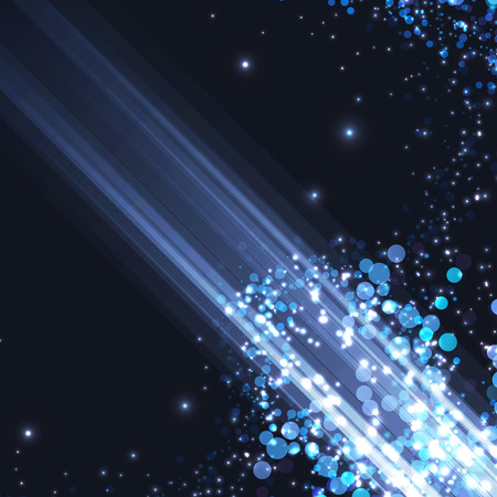 Bright abstract blue light shimmering background speed light ray modern fantasy card futuristic layout. Vector illustration Illustration