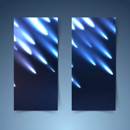 meteorites: Shooting meteors banner collection layout showing glowing meteorites falling from the dark sky. Vector illustration