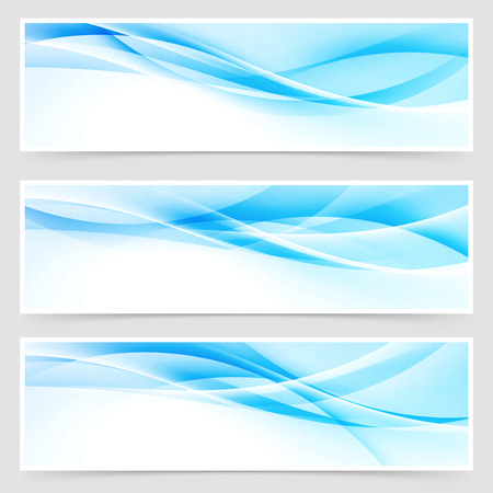 ladylike: Bright blue abstract swoosh modern line header abstract futuristic soft speed fantasy wave layout. Vector illustration