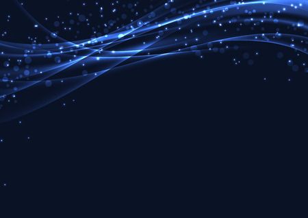 Blue christmas magic abstract glitter background with soft swoosh smooth speed futuristic wave and glitter. Vector illustration  イラスト・ベクター素材