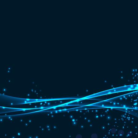 fibers: Magical glittering speed swoosh waves background futuristic impulse line over dark layout. Vector illustration Illustration