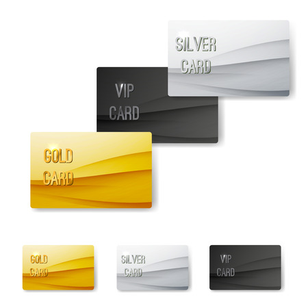 silver service: Premium customer member wave pattern card template collection. Vector illustration
