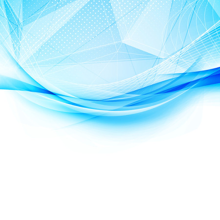 Blue crystal and swoosh wave pattern layout abstract modern hi-tech background with border template. Vector illustration