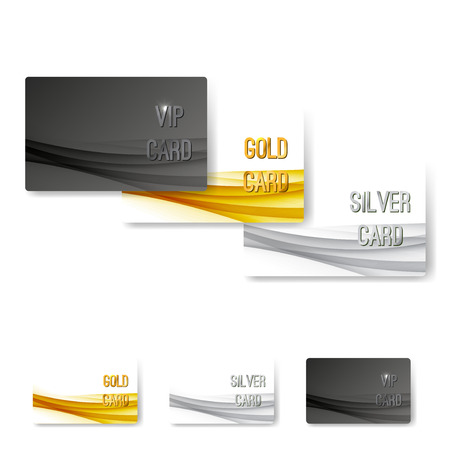 members: VIP status membership card template set with swoosh wave pattern collection layout. Vector illustration