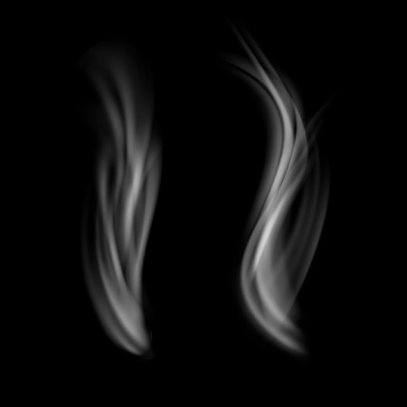 Realistic editable white smoke over black background. Vector illustration