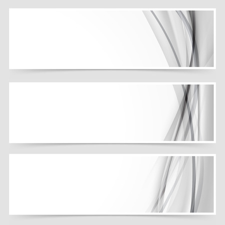 grey line: Three halftone grey line swoosh header template layout abstract modern collection. Vector illustration