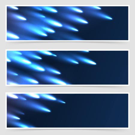 meteor shower: Comet meteor falling modern flyer collection abstract template set. Vector illustration Illustration