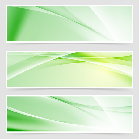 Bright ecological web header collection. Vector illustration  イラスト・ベクター素材
