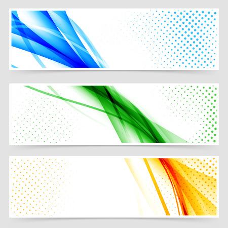 Modern colorful futuristic hi-tech header set. Vector illustration