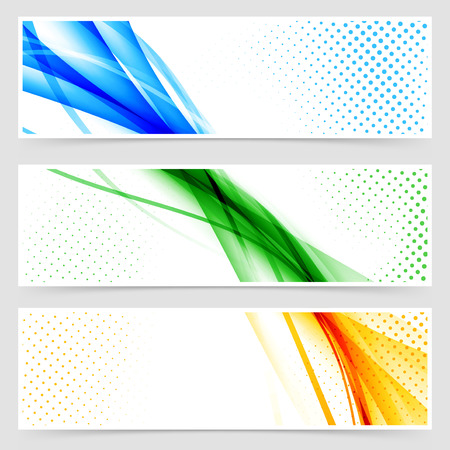 Modern colorful futuristic hi-tech header set. Vector illustration