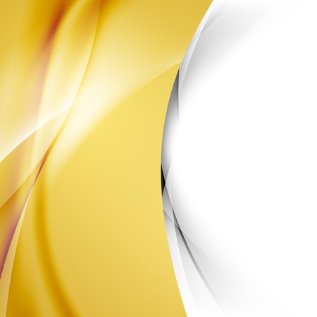 Golden smooth swoosh wave abstract border bright modern folder cover. Vector illustration  イラスト・ベクター素材