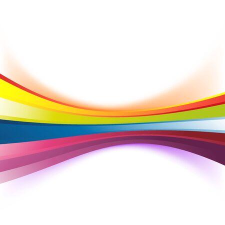 カラフルな抽象的なレインボー ストライプ背景モダンな誕生日に波ライン バナーがシューッという音。ベクトル図