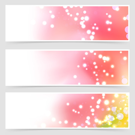 collection red: Bright shimmering seasonal web header set - flare light over blurred red background collection. Vector illustration