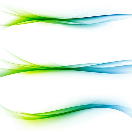 flujo: Verdes brillantes de velocidad azul líneas abstractas fluyen minimalista fresco divisor de transición de onda resorte swoosh plantilla editable. Ilustración vectorial