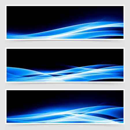 speed of light: Abstract blue speed light line headers footers web template collection. Vector illustration Illustration