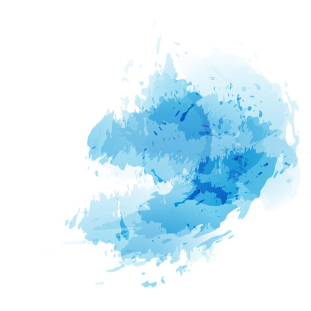 watercolor brush: Blue abstract splatter watercolor background. Vector illustration