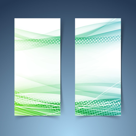 Bright green vertical web banner collection.