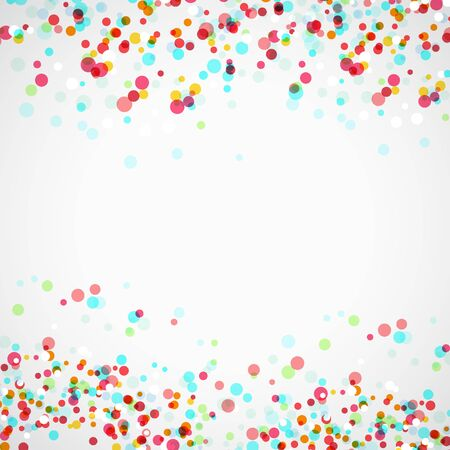 Bright colorful parti-colored abstract layout with vivid falling transparent confetti. Vector illustration Illustration