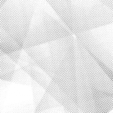 Distressed halftone geometrical abstract dotted layout. Black grain dots forming geometrical pattern. Vector illustration