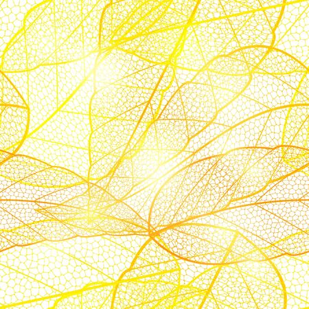 dried: Seamless bright golden autumn leaf background. Glittering golden shimmering bright pattern with dried leaves. Vector illustration