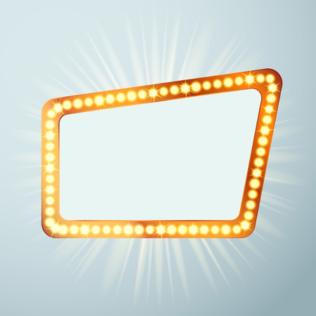 Night retro cinema circus announcement light show sign. Bright Hollywood metal attractive casino bulb signage. Empty old vintage retro style frame. Vector illustration