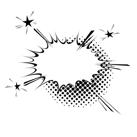 Comic book style explosion expression cloud retro design. Burst halftone black and white vintage frame element. Vector illustration