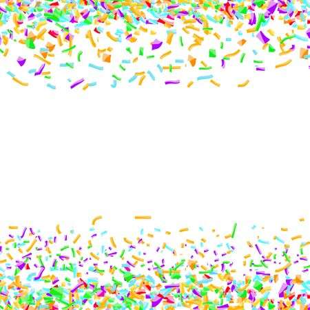 Bright colorful confetti layout over white background. Abstract paper pieces isolated. Easy to apply any Image or Graphics. Vector illustration Illustration
