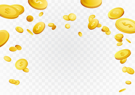 Fortune golden dollar coins flying reward background. Casino cash prize money rain jackpot. Isolated realistic 3D currency over white and grey layout. Vector illustration.