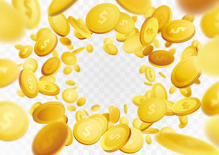 Golden realistic fortune coin falling frame background. Cash winning prize money swirl isolated over transparent background. Vector illustration