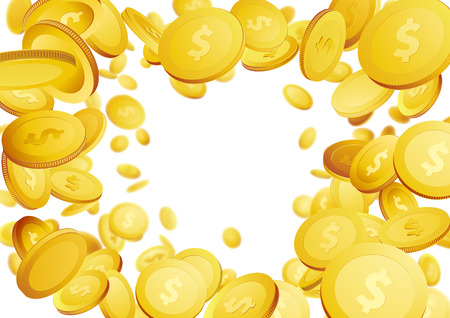 Bright golden coins flying over white background - frame. Vector illustration