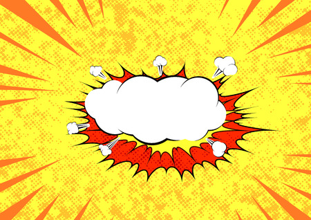 yeah: Pop art graphic explosion speed cloud bright retro background template. Comic speech blast bubble. Cartoon sound bubble speech over yellow dotted layout. Vector illustration