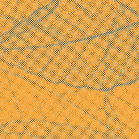 Orange background with dotted distressed leaf pattern.