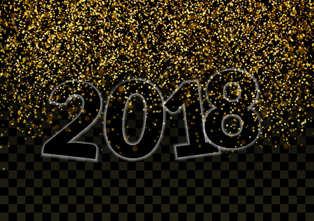 Shimmer Glitter Falling Revealing Happy New Year 2018 design.