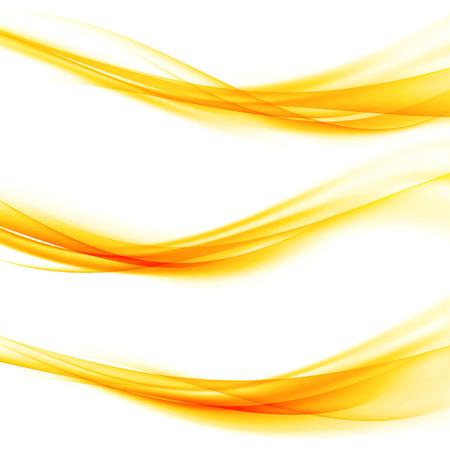 Bright orange swoosh elegant graphic speed light line web border divider collection. Abstract smooth web footer fashion wave set. Transparent mild speed modern elegant layout. Vector illustration