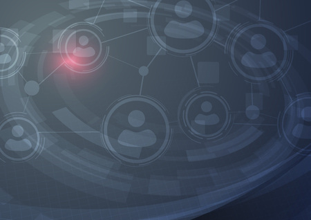 Networking user communication hi-tech modern background. Social peer and relationships sharing in digital world. Vector illustration