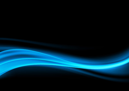 Abstract blue swoosh smoke wave design element over dark background. Vector illustration