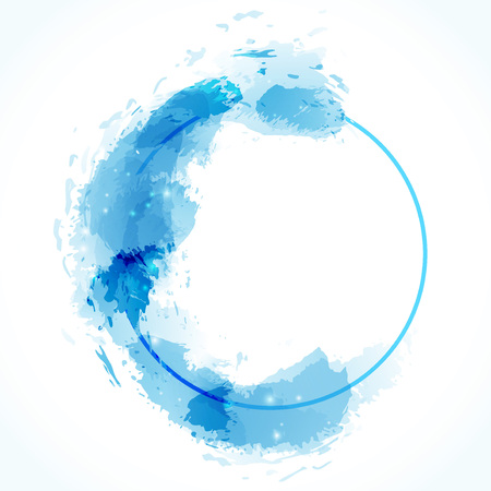 Blue zen circle abstract modern calm design. Artistic background layout with empty space for message and text.