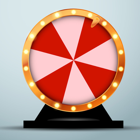 Lottery online casino fortune wheel in golden circle with red and white stripes. Realistic spinning bright roulette. Vector illustration Vettoriali