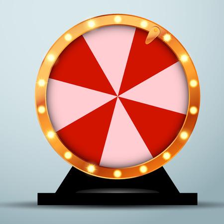 Loteria online casino fortune wheel em círculo dourado com listras vermelhas e brancas. Roleta realista de spinning brilhante. Ilustração do vetor