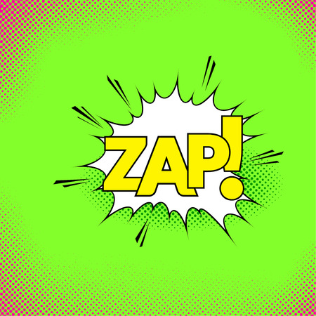 White pop-art style explosion cloud with text zap retro background. Vector illustration