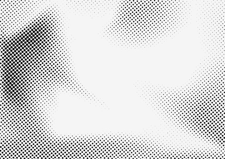 Dotted halftone grey and black illustration.