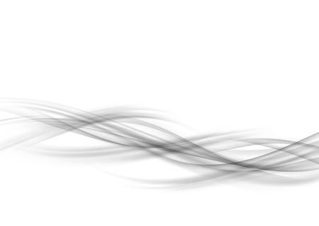 Futuristic abstract soft transparent speed line graphic layout. Grey swoosh liquid gradient border transparent smoke wave pattern over white background template. Vector illustration Illusztráció