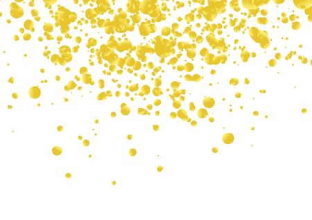Golden bright confetti party background layout. Metallic texture beautiful falling realistic particles. Vector illustration