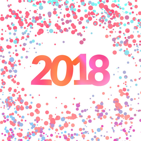 Bright colorful New Year confetti background with soaring confetti pink and blue particles. Poster greeting card background layout. Vector illustration